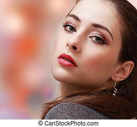 mulher, coloridos, maquilagem, experiência., lábios, closeup, excitado, retrato, vermelho