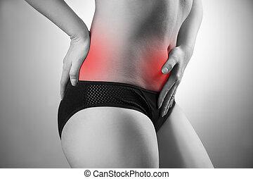 mulher, com, abdominal, e, costas, pain., dor, em, a, corpo humano
