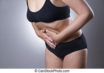 mulher, com, abdominal, pain., dor, em, a, corpo humano
