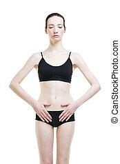 mulher, com, abdominal, pain., dor, em, a, corpo humano, isolado, branco, fundo