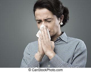 mulher, com, alergia