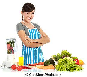 mulher, com, alimento saudável