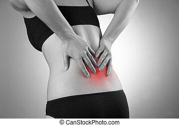 mulher, com, backache., dor, em, a, corpo humano