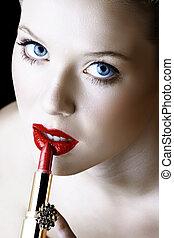 mulher, com, batom vermelho