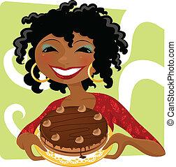 mulher, com, bolo