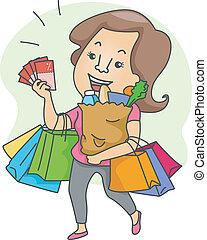 mulher, com, bolsas para compras, e, shopping, cupons