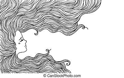 mulher, com, bonito, hair., vetorial, illustration.