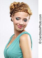 mulher, com, bonito, penteado