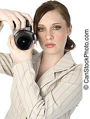 mulher, com, câmera