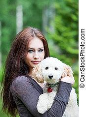 mulher, com, cão