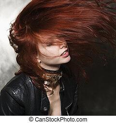 mulher, com, cabelo, blowing.