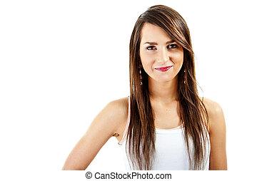 mulher, com, cabelo longo, branco, fundo