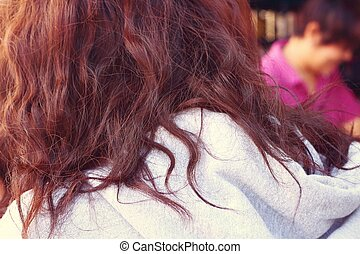 mulher, com, cabelo marrom