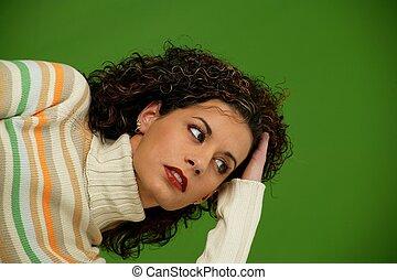 mulher, com, cabelo ondulado
