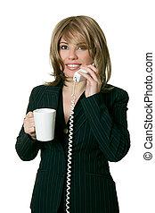 mulher, com, café, respostas, um, telefone