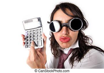 mulher, com, calculadora