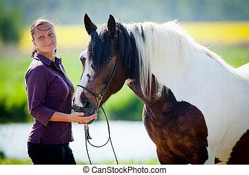 mulher, com, cavalo, em, field.