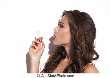 mulher, com, cigarro