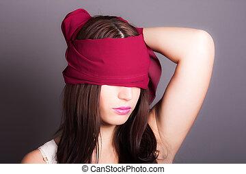 mulher, com, coberto, olhos
