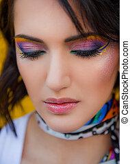 mulher, com, colorido, maquilagem