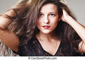 mulher, com, coloridos, maquilagem