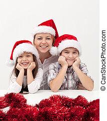 mulher, com, crianças, em, tempo natal