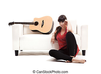 mulher, com, dela, guitarra