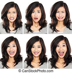 mulher, com, diferente, expressão facial