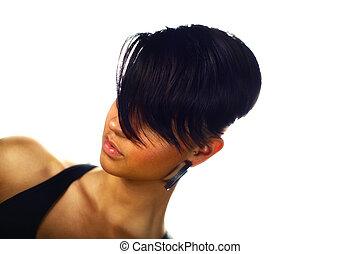 mulher, com, direito, cabelo curto