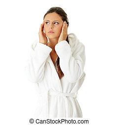 mulher, com, dor de cabeça