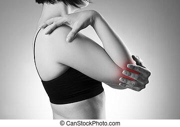 mulher, com, dor, em, elbow., dor, em, a, corpo humano