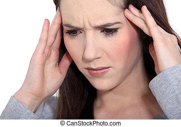 mulher, com, dor tensão cabeça