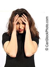 mulher, com, dores cabeça, ou, depressão
