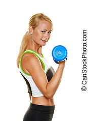 mulher, com, dumbbells, durante, treinamento força
