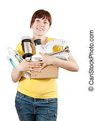 mulher, com, eletrodomésticos lar
