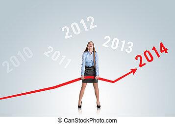 mulher, com, estatísticas, curva