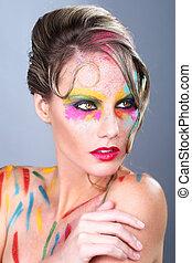 mulher, com, extremo, maquilagem, desenho, com, coloridos, pó