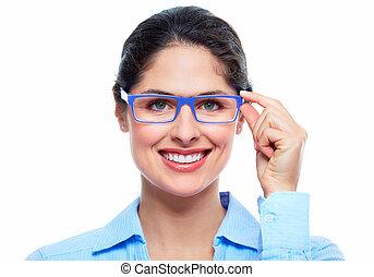 mulher, com, eyeglasses.