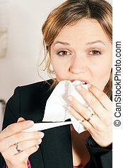 mulher, com, febre, e, gelado