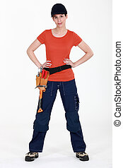 mulher, com, ferramentas