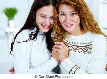 mulher, com, filha