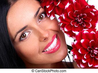 mulher, com, flores
