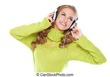 mulher, com, fones, escute música