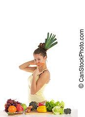 mulher, com, frutas legumes