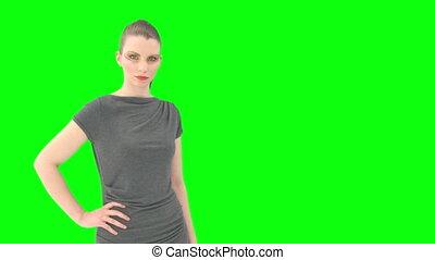 mulher, com, greenscreen, e, alfa, matte