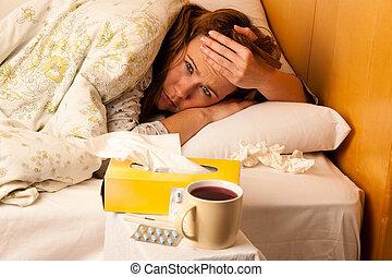 mulher, com, gripe, descansar, cama