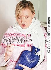mulher, com, gripe, levando, dela, temperatura