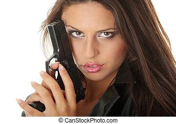 mulher, com, handgun