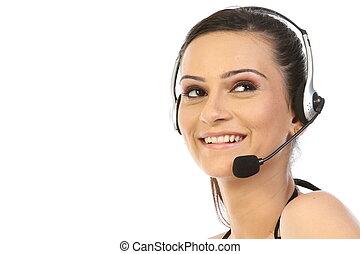 mulher, com, headset