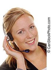 mulher, com, headset telefone, em, cliente, service., ordem,...